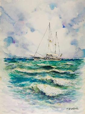 Moored boats vincent van gogh as art print or hand for Paesaggi marini dipinti