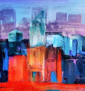 Urban landscape red and blue