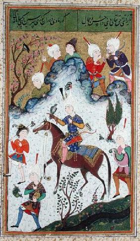 Ms B-284 fol.50b The King's Hunt, from 'Divan' by Huseyn Bayqara