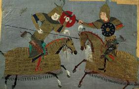 Two warriors on horseback in combat, School of Tabriz