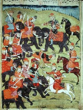 A Battle Scene, from the 'Shahnama' (Book of Kings) by Abu'l-Qasim Manur Firdawsi (c.934-c.1020)