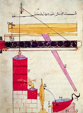 Device for supplying water to a fountain, from ''Book of Knowledge of Ingenious Mechanical Devices''
