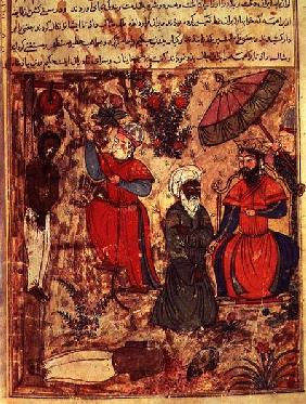 Fol.100 The Sultan Showing Justice, from 'The Book of Kalila and Dimna' from 'The Fables of Bidpay'