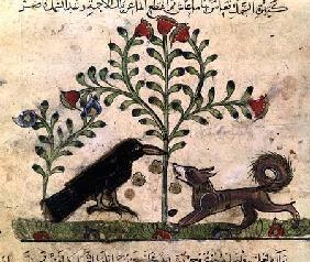 The Fox and the Crow, illustration from 'The Fables of Bidpai'