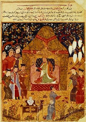 Genghis Khan in his tent Rashid al-Din (1247-1318)