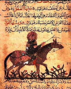 Horse and rider, illustration from the 'Book of Farriery' by Ahmed ibn al-Husayn ibn al-Ahnaf