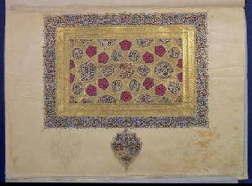 Page from a Koran manuscript, illuminated by Mohammad ebn Aibak, Il-Khanid Period