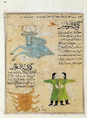 Ms E-7 fol.23a The Constellations of the Bull, the Twins and the Crab, illustration from ''The Wonde