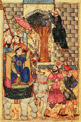 Fol.110 The Sultana leaving the palace, from ''The Book of Kalilah and Dimnah'' (ink and opaque w/c