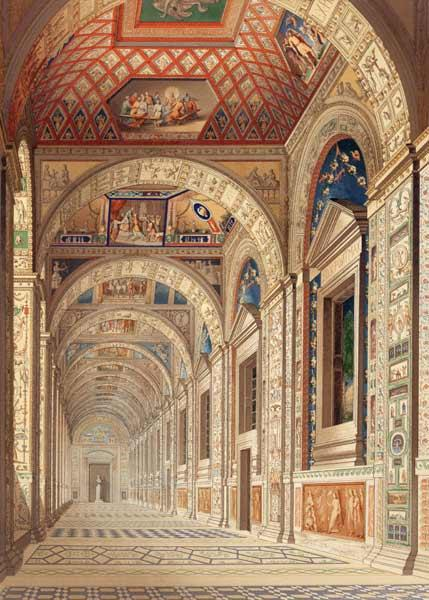 View of the second floor Loggia at the Vatican, with decoration by Raphael, from 'Delle Loggie di Ra