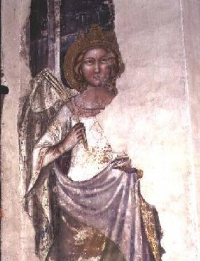 Crowned figure holding a palm frond, possibly a angel