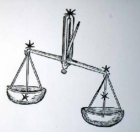 Libra (the Scales) an illustration from the 'Poeticon Astronomicon' by C.J. Hyginus, Venice