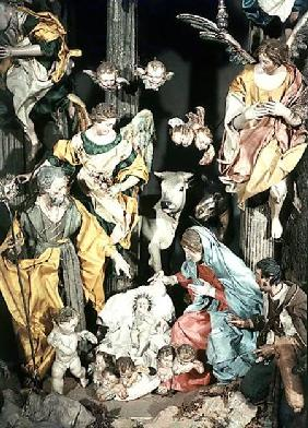 The Nativity, made in Naples, detail of the central section