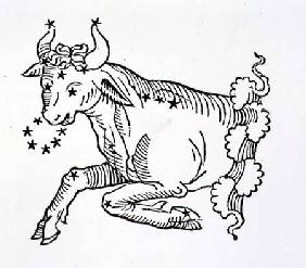 Taurus (the Bull) an illustration from the 'Poeticon Astronomicon' by C.J. Hyginus, Venice