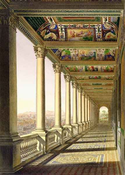 View of the third floor Loggia at the Vatican, with decoration by Raphael, from 'Delle Loggie di Raf