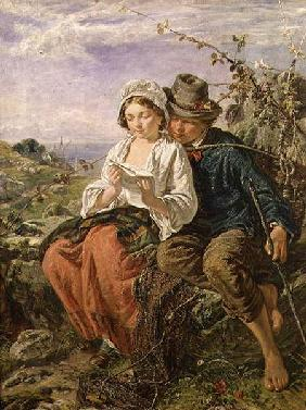 A Wood Gatherer and a Girl Reading