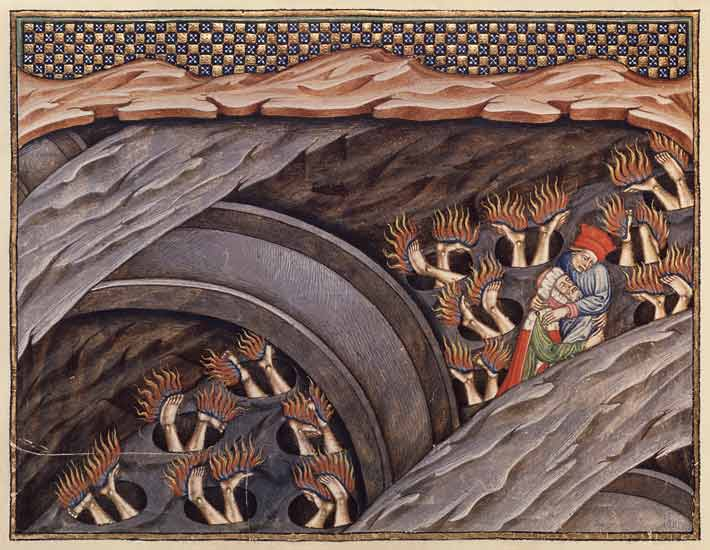 Ms 207 F 245 Dante S Inferno With A Comm Italian School As