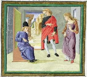 Man and woman before their judge, from 'Decretum Gratiani' (vellum)