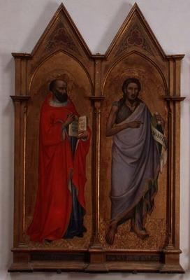 Moses and St. John the Baptist (tempera on panel)