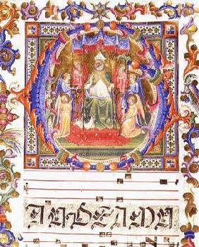 Ms 557 f.35v Historiated initial 'O' depicting Aegidius (St. Giles) (d.c.700) enthroned surrounded b
