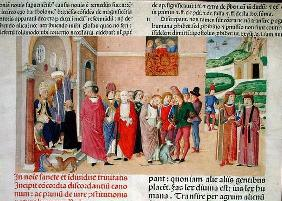 Presentation of the work to the Pope, from 'Decretum Gratiani' (vellum)