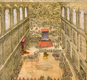 Audience Chapel at the Vatican (colour engraving)