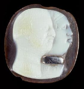 Cameo depicting a master and slave (agate & silver)