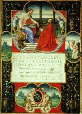 G. Marcello kneeling before St. Marco and St. Jerome and the coat of arms of the Marcello Familly, 1