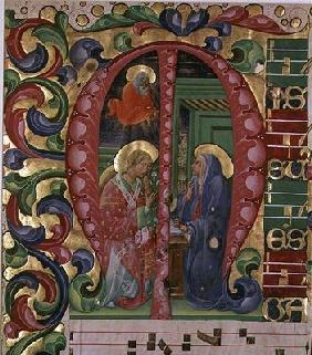 Historiated initial 'M' depicting The Annunciation (vellum)