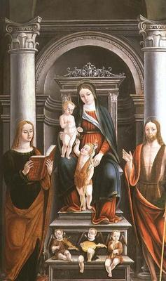 Madonna and Child receiving a rose from the Infant St. John the Baptist, with saints and angels by M