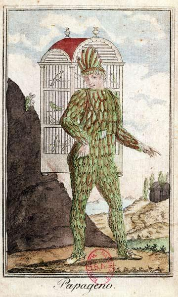 Papageno the bird-catcher, from 'The Magic Flute' by Wolfgang Amadeus Mozart (1756-91), (coloured en
