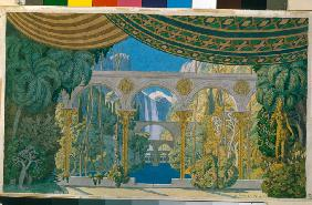 The Gardens of Chernomor. Stage design for the opera Ruslan and Ludmila by M. Glinka