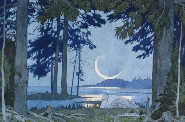 Night at the Lake Ilmen. Stage design for the opera Sadko by N. Rimsky-Korsakov