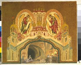 Chudov Monastery. Stage design for the opera Boris Godunov by M. Musorgsky