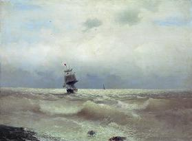 Ship off the coast