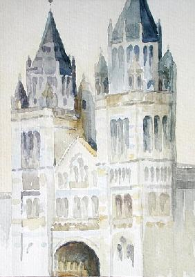 Main Entrance of The Natural History Museum, London, Daytime, 1994 (w/c on paper)