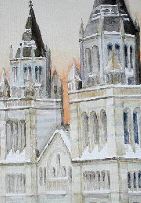 Main Entrance of The Natural History Museum, London, Under Snow, 1994 (w/c on paper)