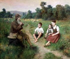 Children Listen to a Shepherd Playing a Flute
