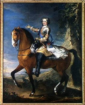 Equestrian Portrait of Louis XV (1710-74) at the age of thirteen