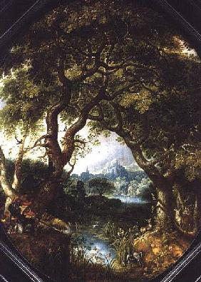 A Wooded Landscape with Hunters by a Stream