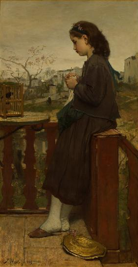 Girl knitting on a balcony, Montmartre