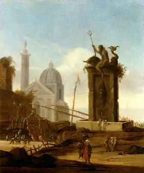 Ulft, Jacob van der : An Italianate Capriccio in...