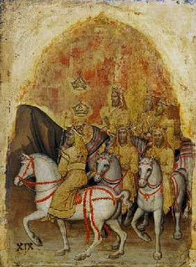 Alberegno, Jacopo died 1397. ''Horsemen'' (Apocalypse 19,11-16). From the polyptych of the Apocalyps