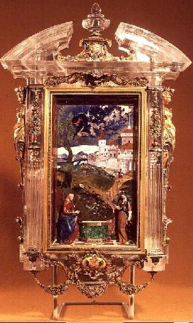 Christ and the Samaritan, pietre dure panel by Cristofano Gaffuri (d.1626), set in a rock crystal fr