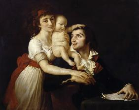 Camille Desmoulins with his wife Lucile and child