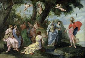 Minerva with the Muses (oil on canvas)