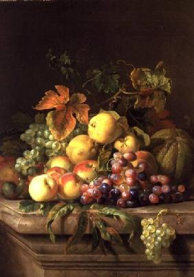 A Still Life of Melons, Grapes and Peaches on a Ledge