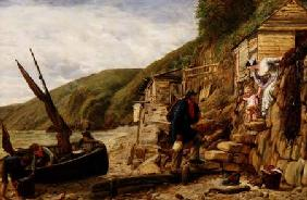 """Welcome, Bonny Boat!"" The Fisherman's Return, scene at Clovelly, North Devon"