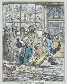 Very Slippy Weather, engraved by J. Sidebotham (colour litho)