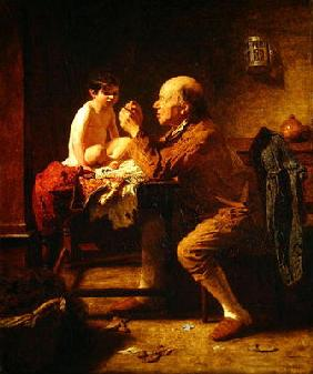 A Stitch in Time, 1862 (oil on canvas)